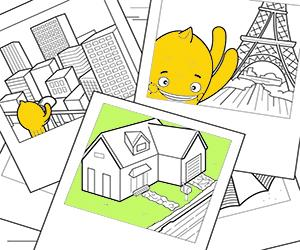 Houses, Cities and Monuments coloring pages